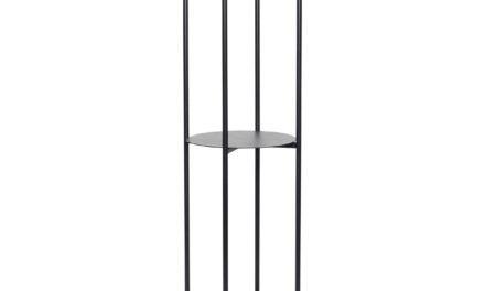 HÜBSCH reol – sort metal, m. 3 hylder, rund (Ø44)