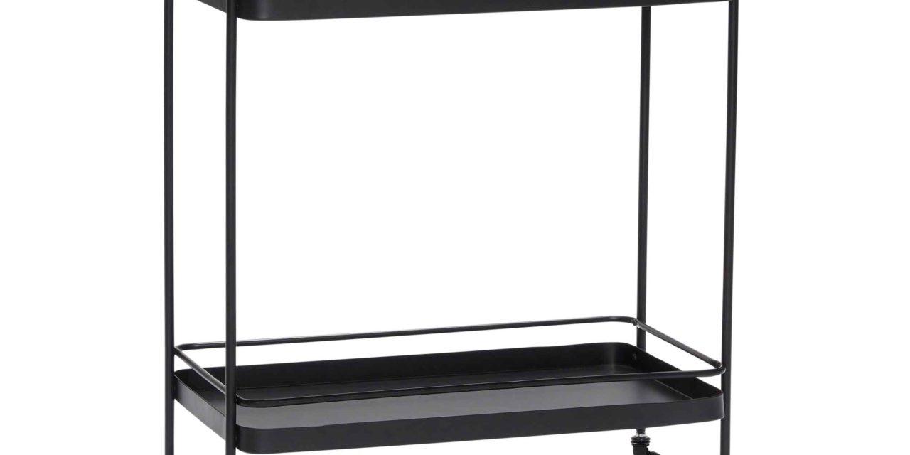 HÜBSCH rullebord – sort metal, 2 hylder og 4 hjul
