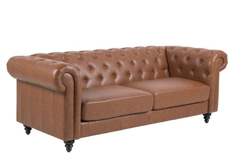 Charlietown retro sofa, 3 pers. – cognac læderlook