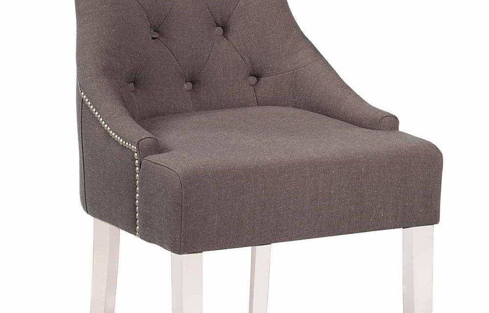 Stella spisebordsstol – Gråt/brunt stof, m. hvide ben