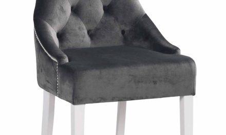 Stella spisebordsstol – Gråt stof, m. hvide ben