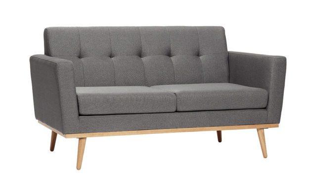 HÜBSCH Mørkegrå stof sofa med egetræsben