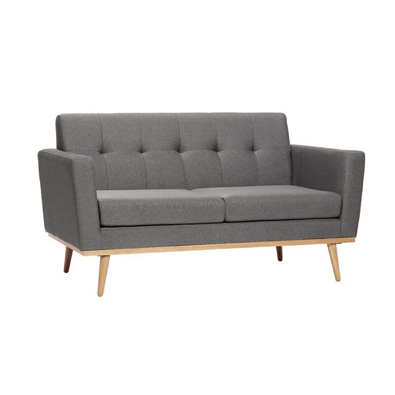 HÜBSCH Mørkegrå stof sofa med egetræsben Netkvik