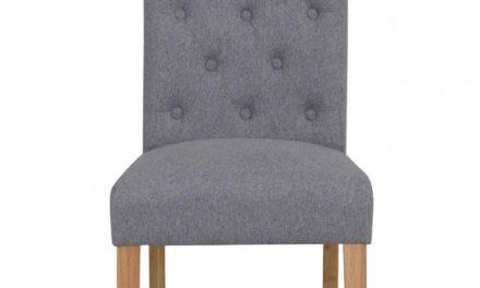 Indra spisebordsstol – lysegråt stof/egetræsben