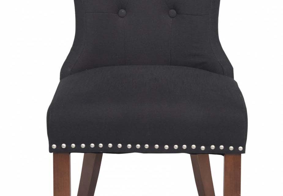 Adele spisebordsstol – sort stof m. træben