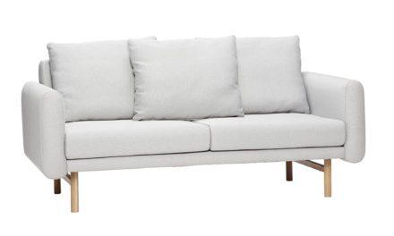 HÜBSCH Lysegrå stof sofa, 2 pers.