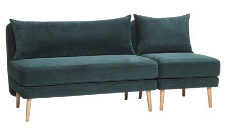 HÜBSCH 2 personers sofa – grøn velour/egetræben, m. separat stol
