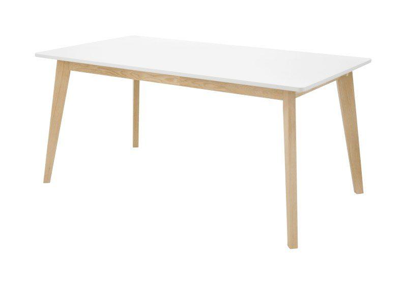 LISSABON spisebord – hvid, m. udtræk (160×90)