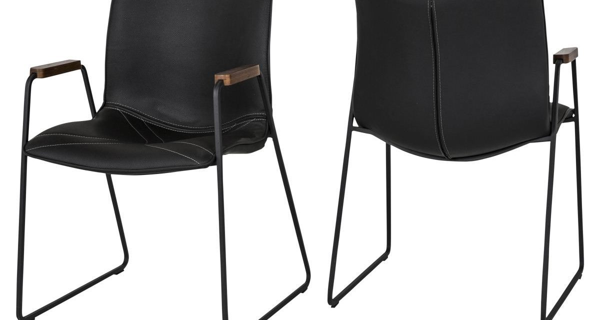 CANETT Johan spisebordsstol m. armlæn – Sort