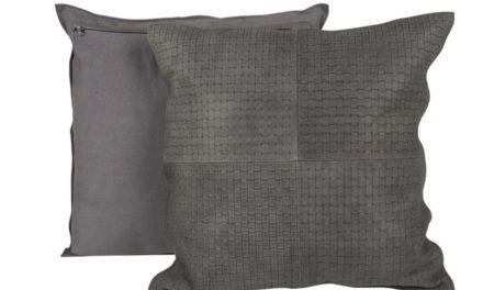 CANETT Aya pude – grå ruskind/stof, flet