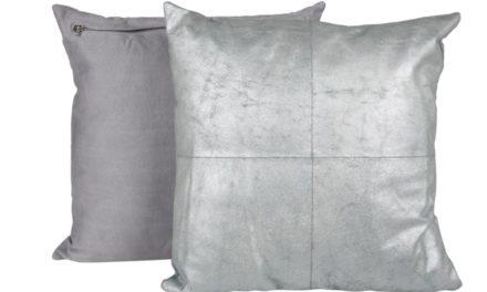 CANETT Aya pude – lysegrøn/sølv, læder/stof