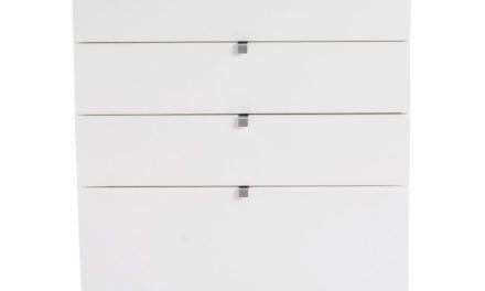 Confetti kommode – hvidt birk, bred m. 4 skuffer