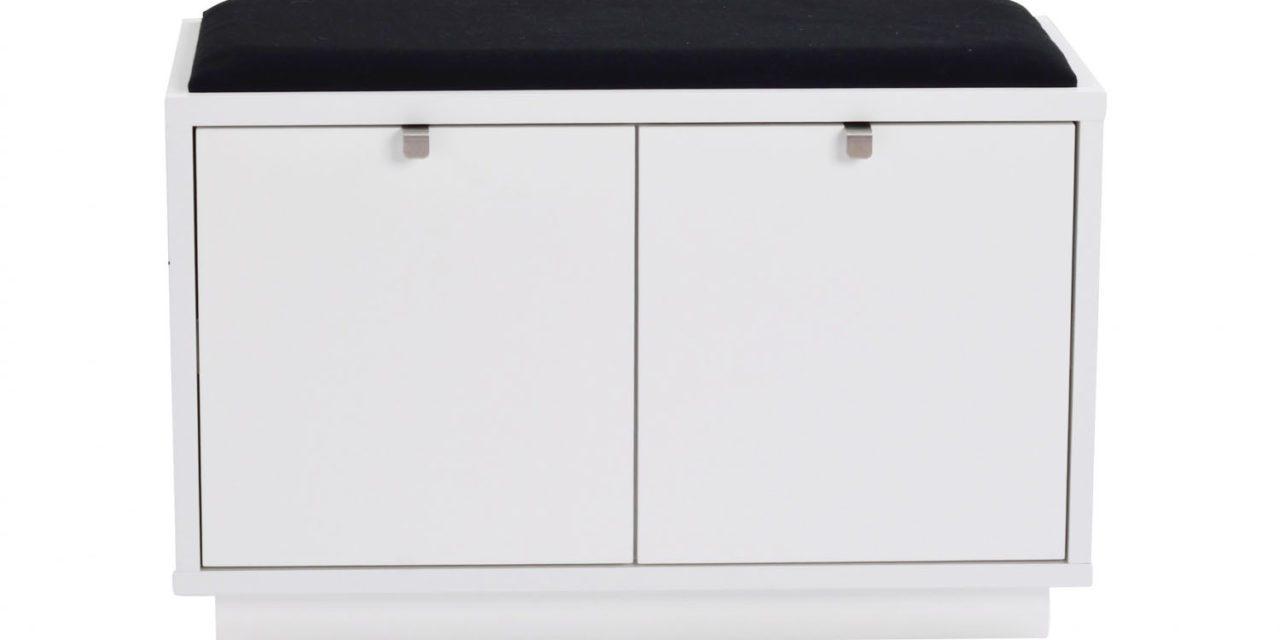 Confetti bænk – hvidlakeret træ/sort stofhynde, m. 2 skuffer