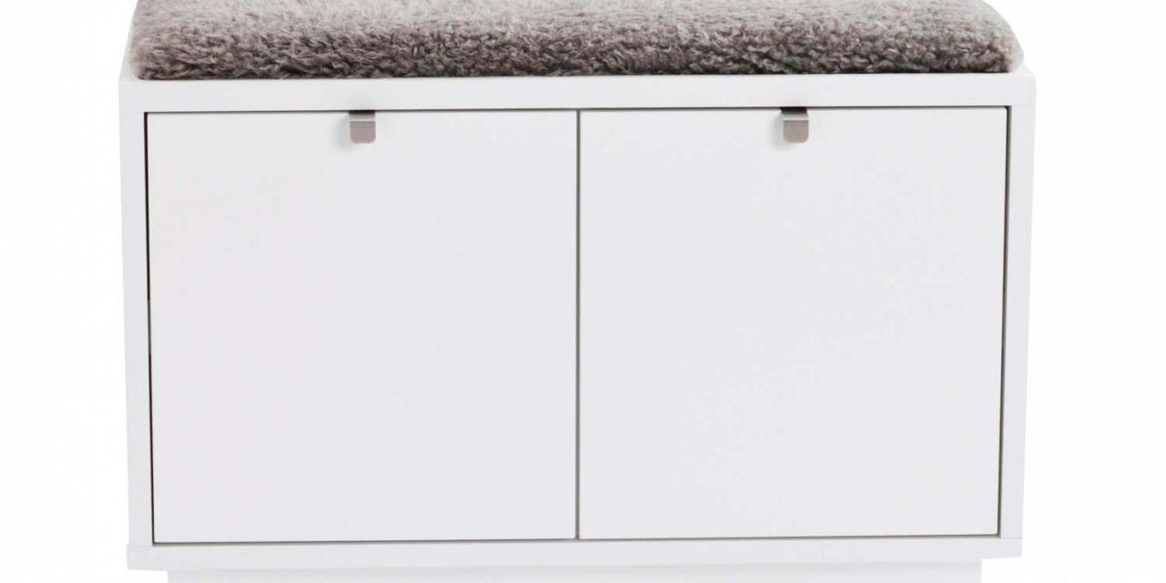 Confetti bænk – hvidlakeret træ/grå stofhynde, m. 2 skuffer