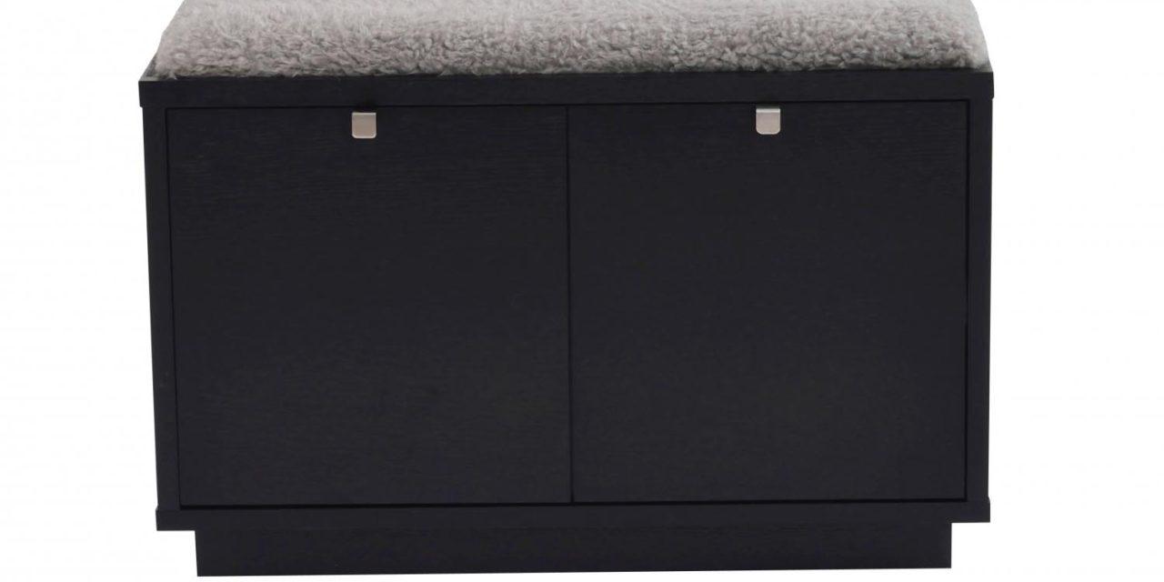 Confetti bænk – sort eg/grå hynde, m. 2 skuffer
