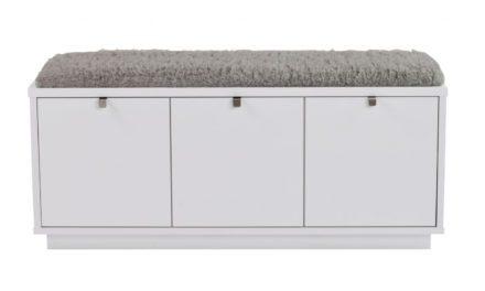 Confetti bænk – hvidlakeret træ/grå hynde, m. 3 skuffer