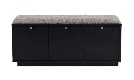 Confetti bænk – sort eg/grå hynde, m. 3 skuffer
