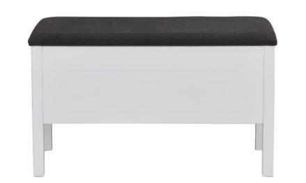 Confetti bænk – mørkegråt stof og hvidt birk, m. opbevaring