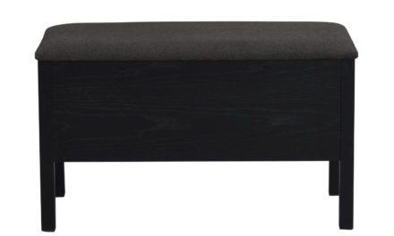 Confetti bænk – mørkegråt stof og sort eg, m. opbevaring