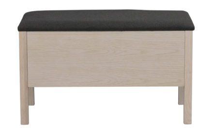 Confetti bænk – mørkegråt stof og hvidpigmenteret eg, m. opbevaring