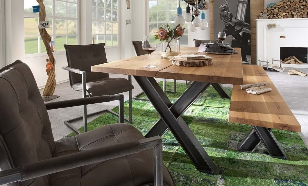 BODAHL Woodstock plankebord – 2-delt bordplade, m. udtræk 220 x 100 cm X-ben