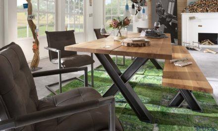 BODAHL Woodstock plankebord – 2-delt bordplade, m. udtræk 240 x 100 cm X-ben