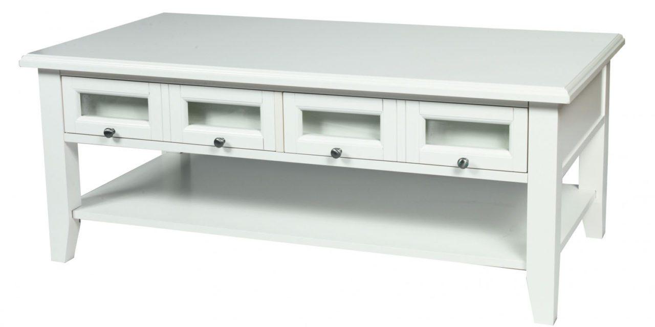 Koster sofabord – hvid m. 2 skuffer (120×65)