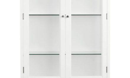 Koster vitrineskab – hvid m. 2 glaslåger