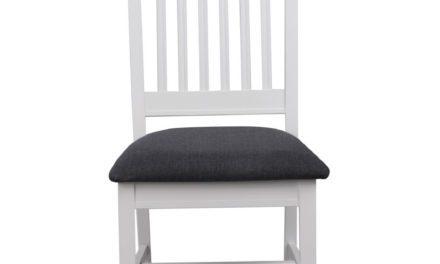 Koster spisebordsstol – hvidt træ/gråt stof