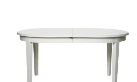Koster spisebord – hvid, oval inkl. 2 tillægsplader
