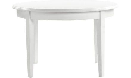 Koster spisebord – hvid, rund m. 1 tillægsplade (Ø120)