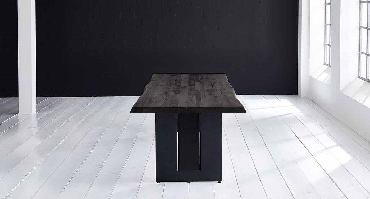 Concept 4 You Plankebord – Barkkant Eg med Steven ben, m. udtræk 6 cm 300 x 110 cm. 07 = mocca black