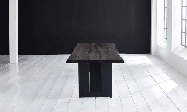 Concept 4 You Plankebord – Barkkant Eg med Steven ben, m. udtræk 6 cm 240 x 100 cm 07 = mocca black