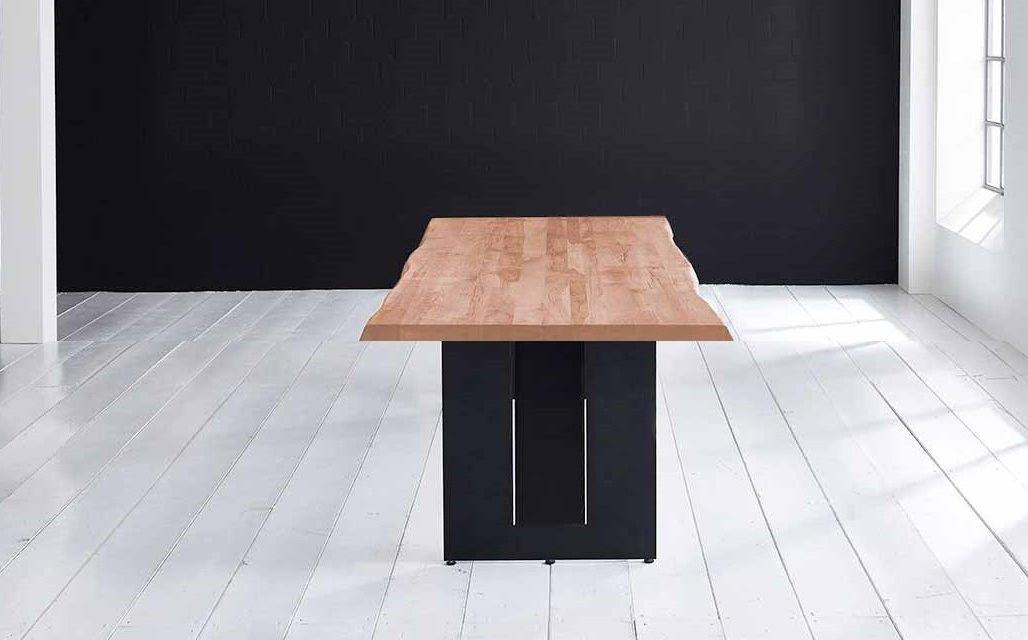 Concept 4 You Plankebord – Barkkant Eg med Steven ben, m. udtræk 6 cm 240 x 100 cm 03 = white wash