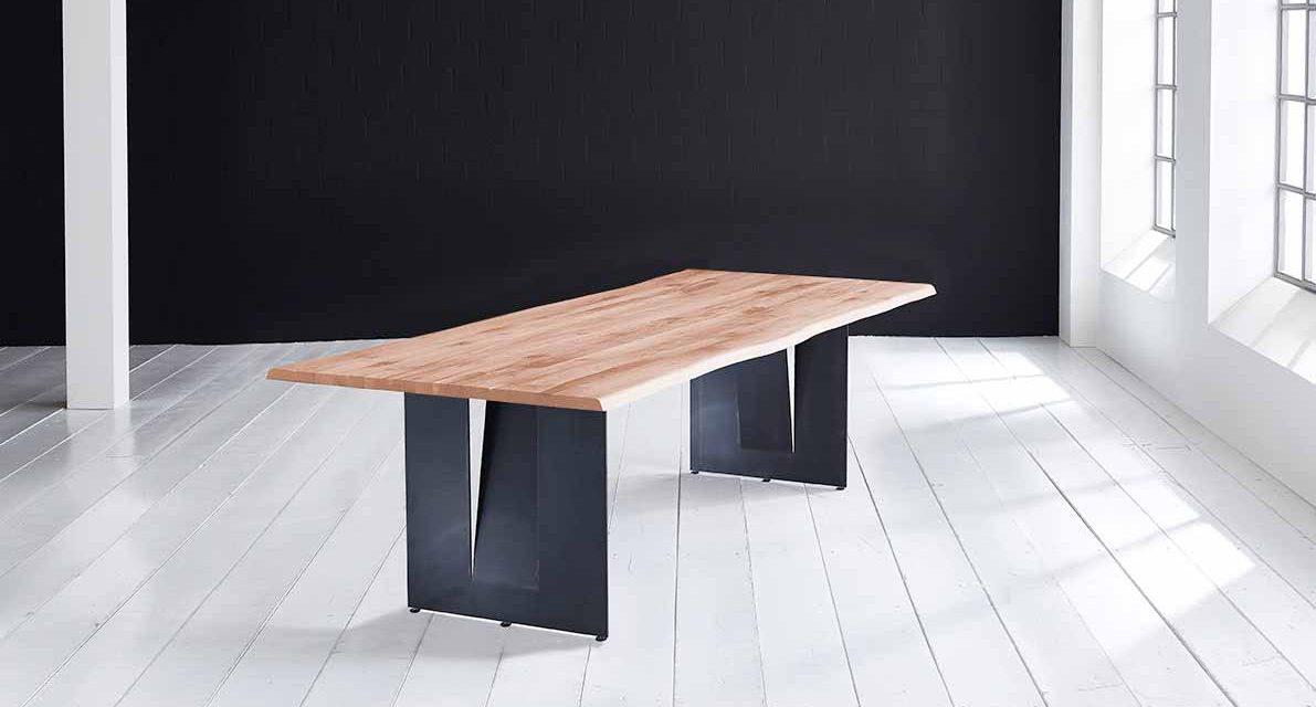 Concept 4 You Plankebord – Barkkant Eg med Steven ben, m. udtræk 3 cm 180 x 100 cm 03 = white wash