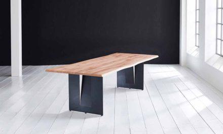 Concept 4 You Plankebord – Barkkant Eg med Steven ben, m. udtræk 3 cm 220 x 100 cm 03 = white wash