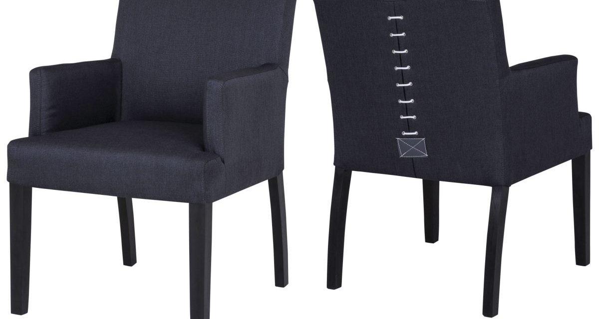 CANETT Matti spisebordsstol m. armlæn – Sort/Grå