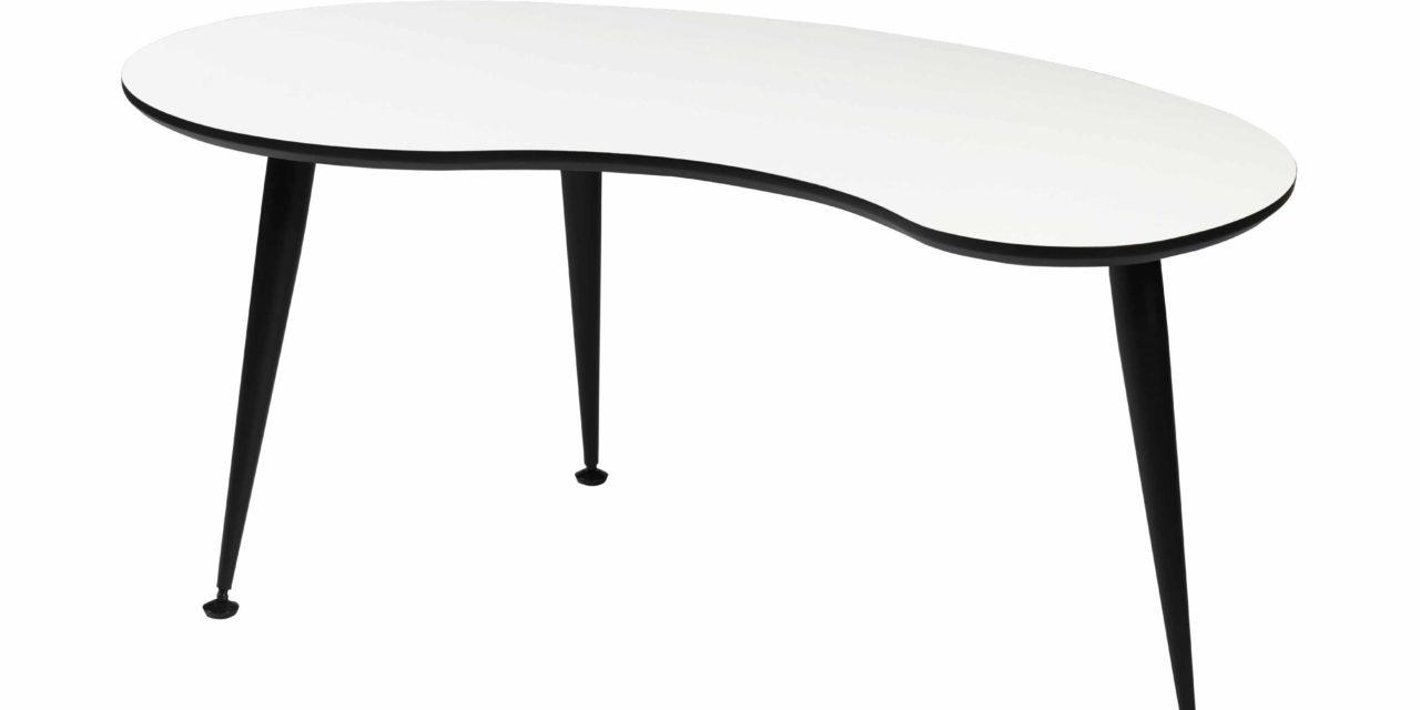 Strike sofabord – Hvidt træ, stel i sort rustfrit stål