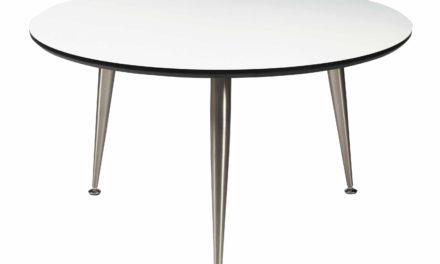 Strike sofabord – Hvidt træ, stål stel, rundt (Ø:85)