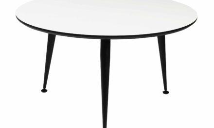 Strike sofabord – Hvidt træ, sort stål stel, rundt (Ø:85)