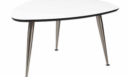 Strike sofabord – Hvidt træ, stål stel, trekantet