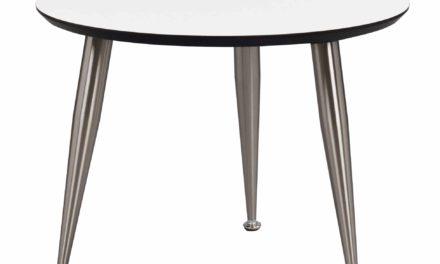 Strike sofabord – Hvidt træ, stål stel, rundt (Ø:56)