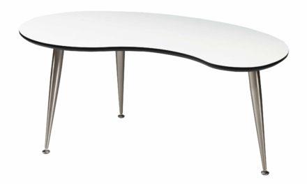Strike sofabord – Hvidt træ, stel af rustfrit stål
