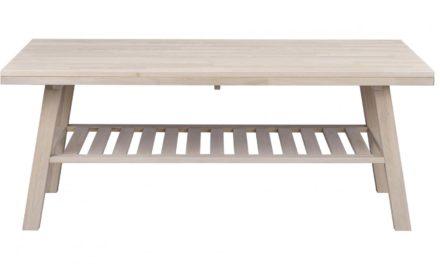 Brooklyn sofabord – hvidpigmeneteret eg m. 1 hylde (130×75)