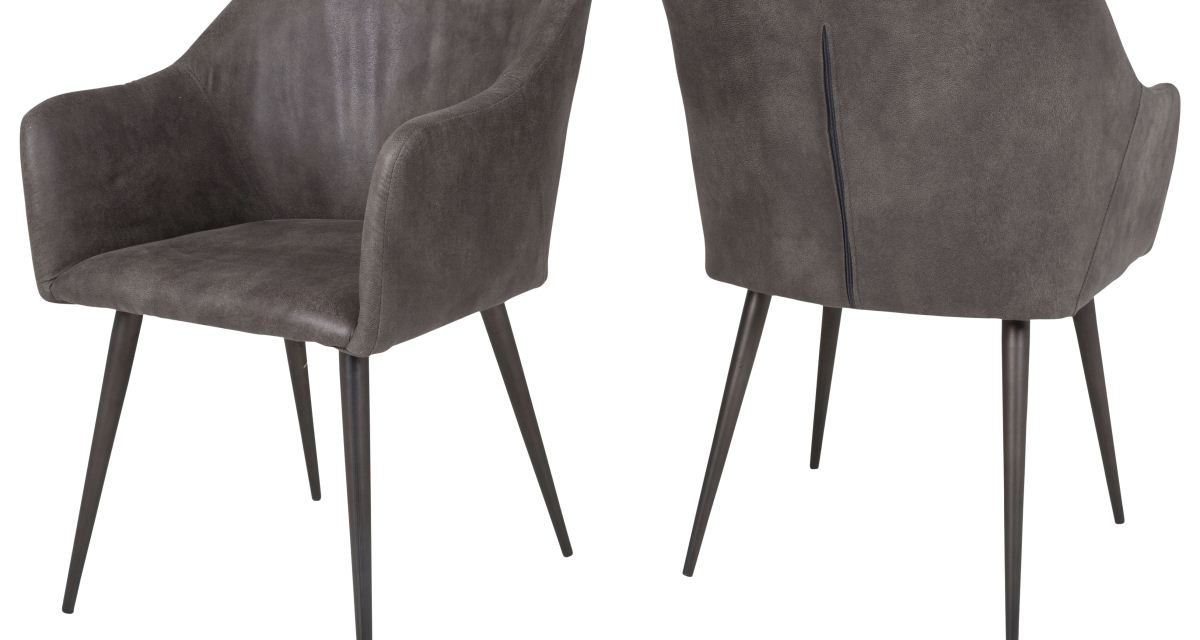 CANETT Miranda spisebordsstol m. armlæn – Mørkegrå