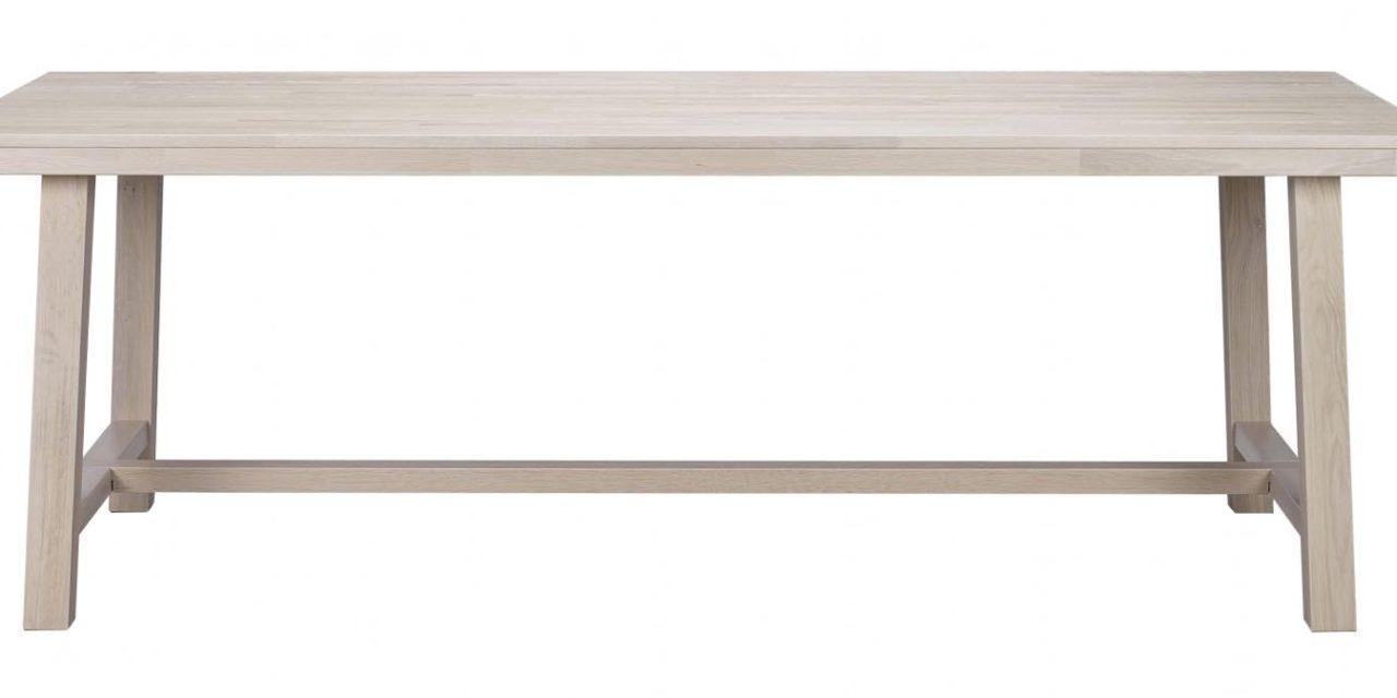 Brooklyn spisebord – hvidpigmenteret eg m. udtræk (220×95)