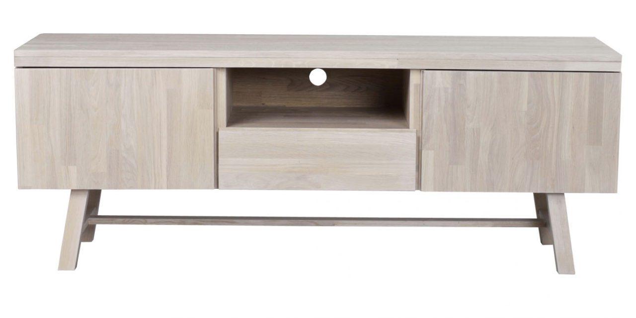 Brooklyn TV-bord – hvidpigmenteret eg, m. 2 låger, 1 skuffe og 1 rum