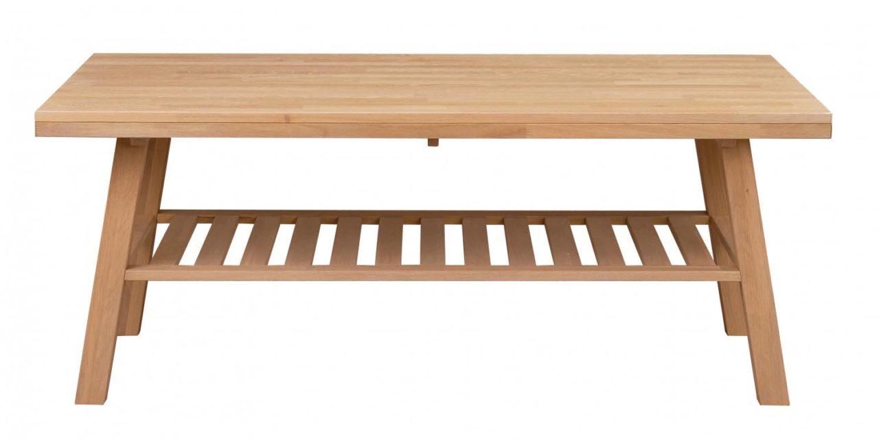 Brooklyn sofabord – børstet eg m. 1 hylde (130×75)