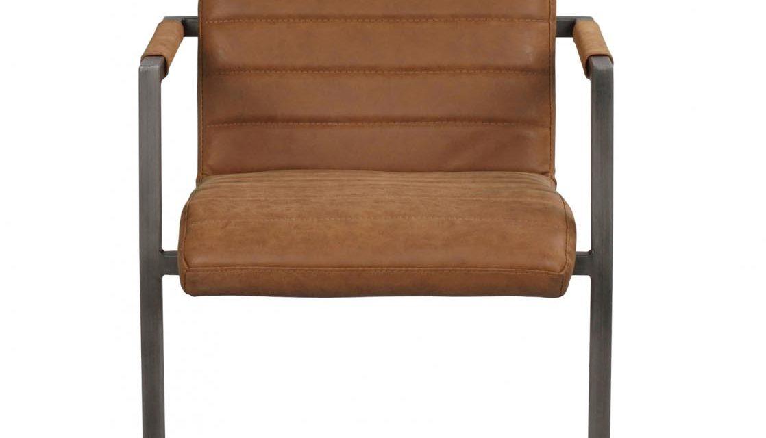Clive spisebordsstol – mat cognac PU læder og gråt stål