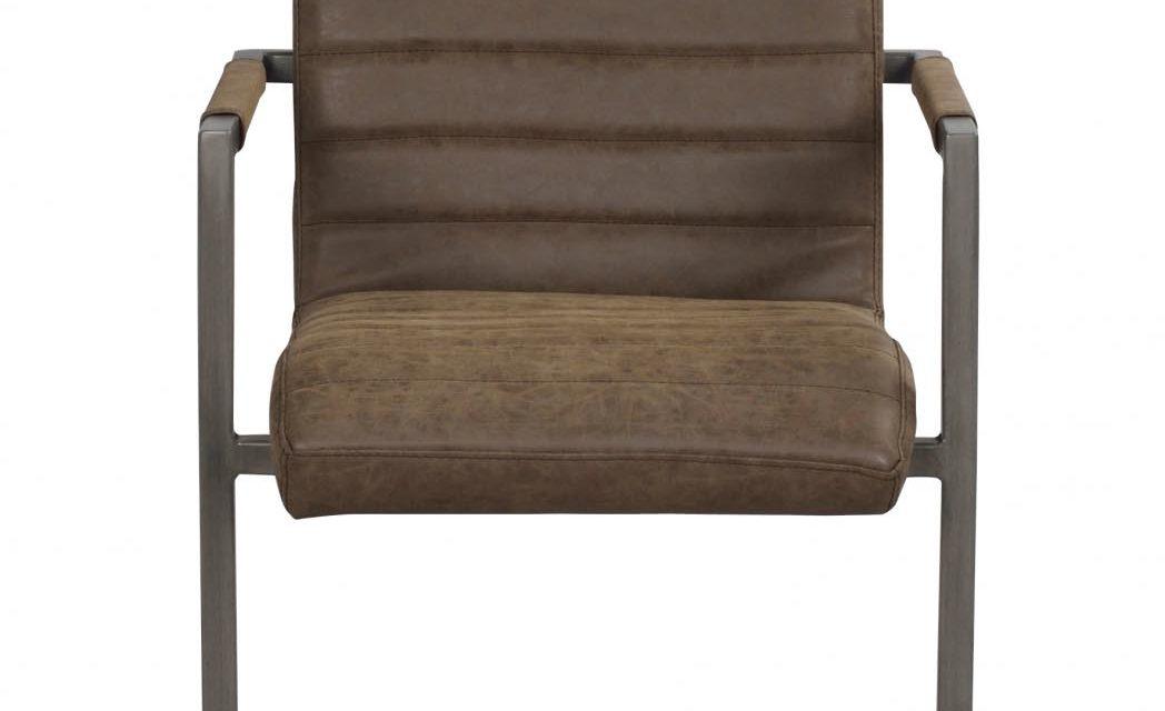 Clive spisebordsstol – mat brun PU læder og gråt stål